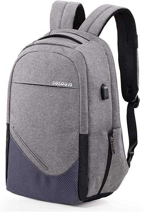 Business Computer Bookbag Fit 15.6In Laptops,Water Repellent Anti-Theft Travel College Backpack with USB Charging Port And Lock