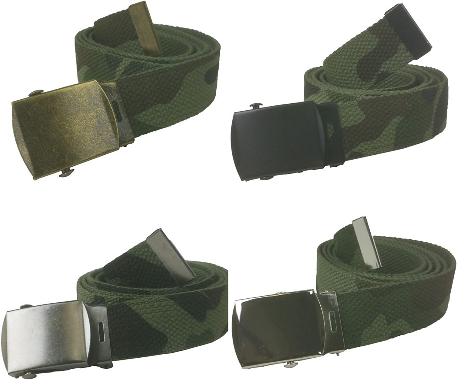 Top Quality 48 Camo Woodland Canvas Military Army Style Belt with Silver Buckle #JJAS