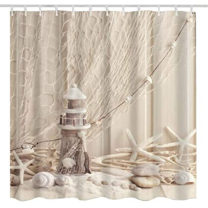 BROSHAN Nautical Seashell Decor Shower Curtain FabricCoastal Sea Shell Fishing Net Marine Ocean Wooden