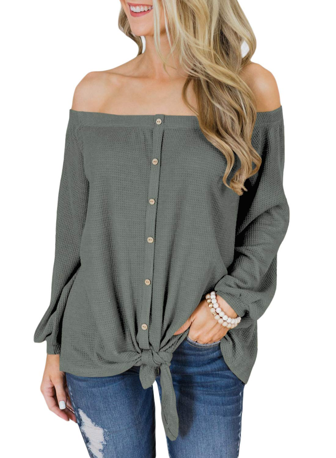 942a3b2c929 Galleon - Asvivid Womens Long Sleeve Off The Shoulder Button Down Tie Knot  Strapless Solid Tee Shirt Blouses Tops S Green