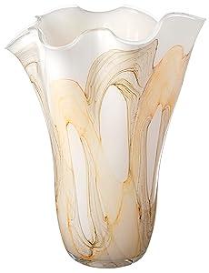 Anna Exclusive Decor Realizzato a Mano, Grande Fazzoletto Vaso in Vetro–Bianco, Marrone, Giallo–34cm