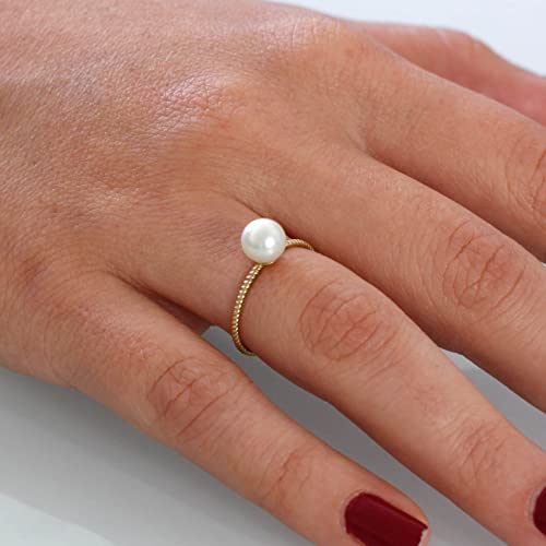 e24625724 Gold pearl ring twisted band bridal jewelry special wedding ring white  freshwater pearl dainty 14K gold ring anniversary gift present minimalist  band ...