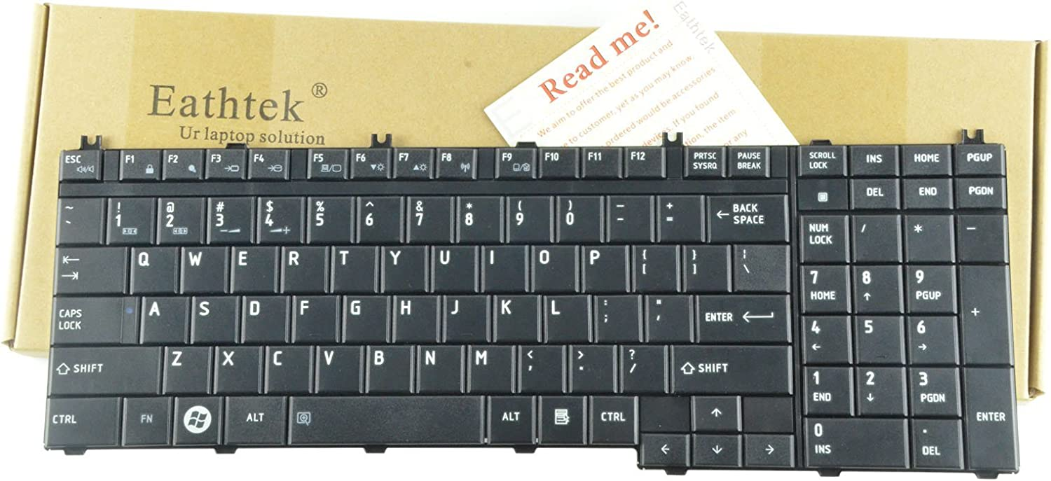 Eathtek Replacement Keyboard for Toshiba Satellite P300 P305 P500 P500D P505 A500 A505 A505-S6004 A505-S6005 A505-S6007 A505-S6009 A505-S6012 A505-S6014 A505-S6015 A505-S6016 Series Black US Layout