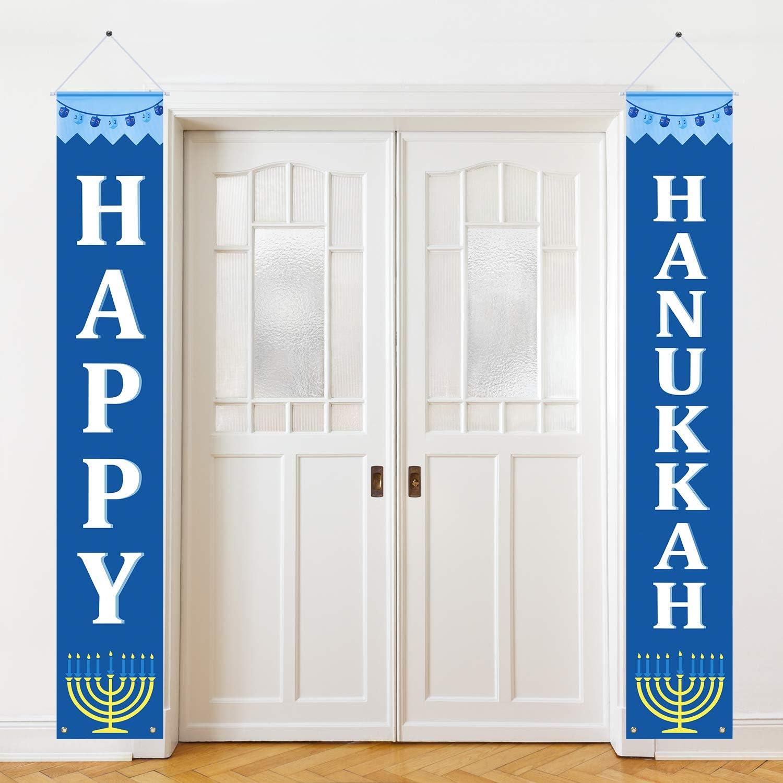 Hanukkah Banner Happy Hanukkah Porch Sign Hanukkah Decorations for Home Door Birthday Party Yard Outdoor