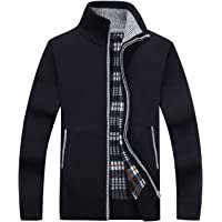 Yeokou Men's Slim Full Zip Thick Knitted Cardigan Sweaters with Pockets