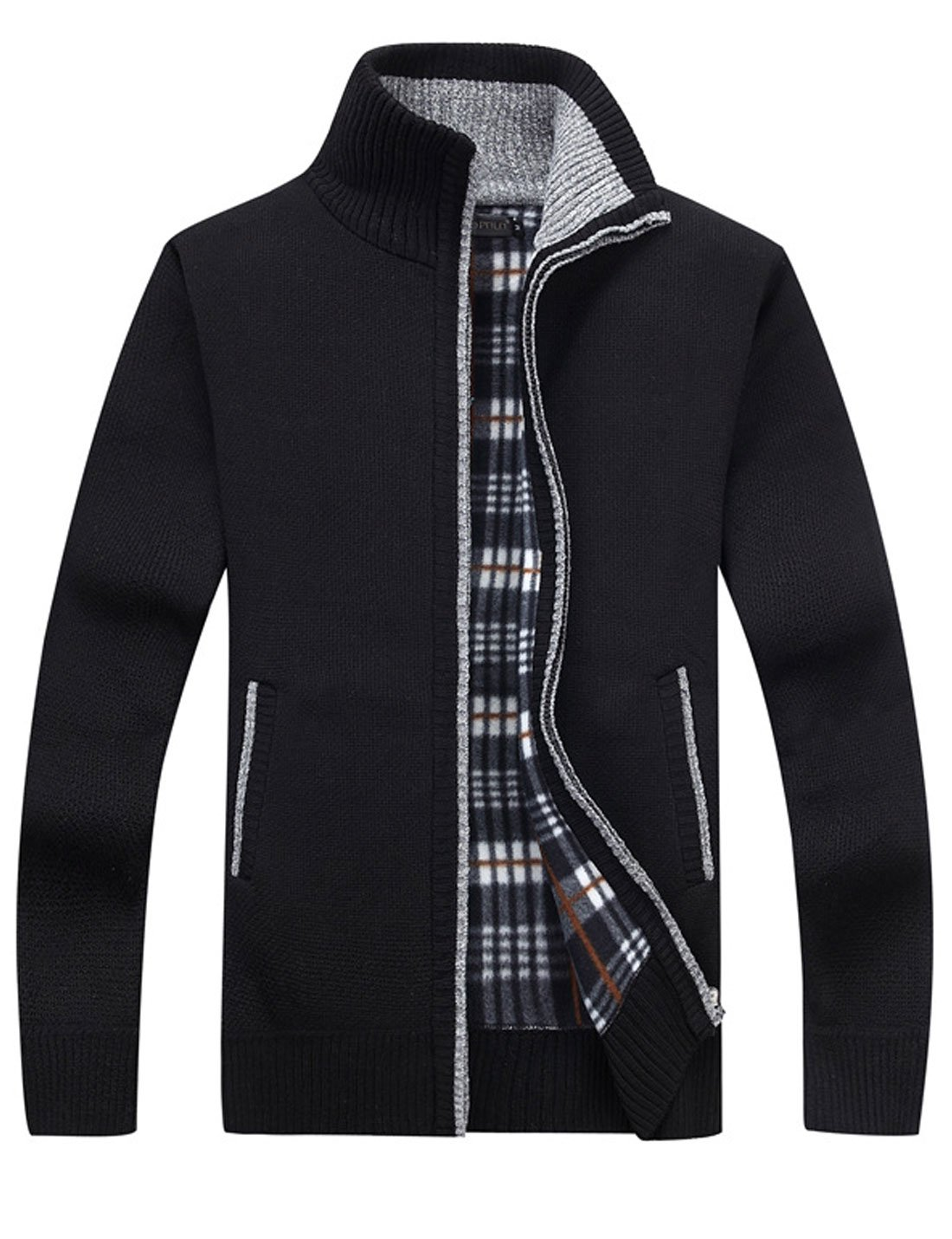 Yeokou Men's Casual Slim Full Zip Thick Knitted Cardigan Sweaters with Pockets (Medium, Black)