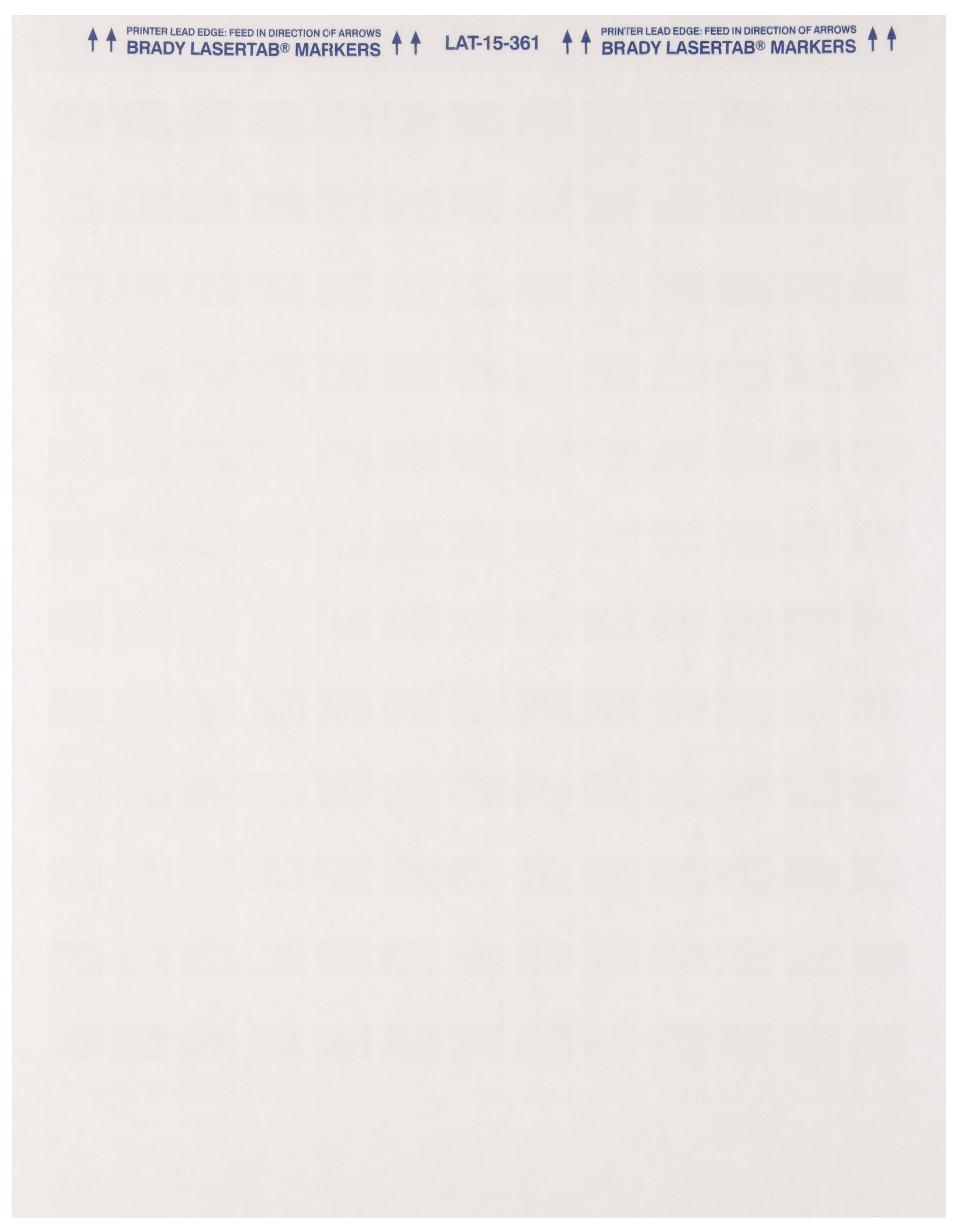 Brady LAT-15-361-1 0.5'' Width x 0.75'' Height, B-361B Self-Laminating Polyester, Matte Finish White/Translucent Laser Printable Label (Pack of 1000)