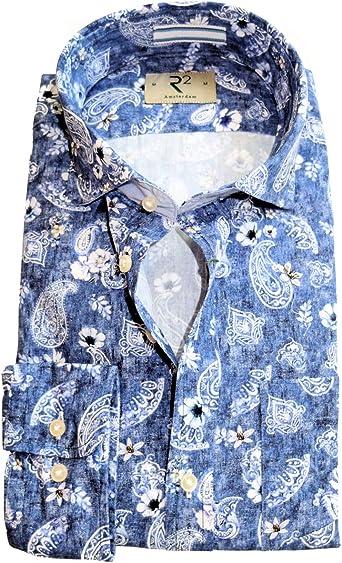 R2 Amsterdam Camisa de manga larga estampado Paisleys Floral en azul y blanco, talla S - 3XL: Amazon.es: Ropa y accesorios