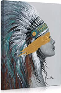 ATELIYISHU Native American Canvas Wall Art Indian Girl Chief Feathered Women Colorful Feathered Painting 12