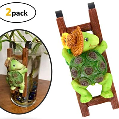 Flower Pot - Hugger Figurine - Turtle (2 Pcs) Garden Decor - Get All The Fun Collections of Pot Pal Climbers - Hanging Planter Decorations - Patio Decor - Yard Decor : Garden & Outdoor