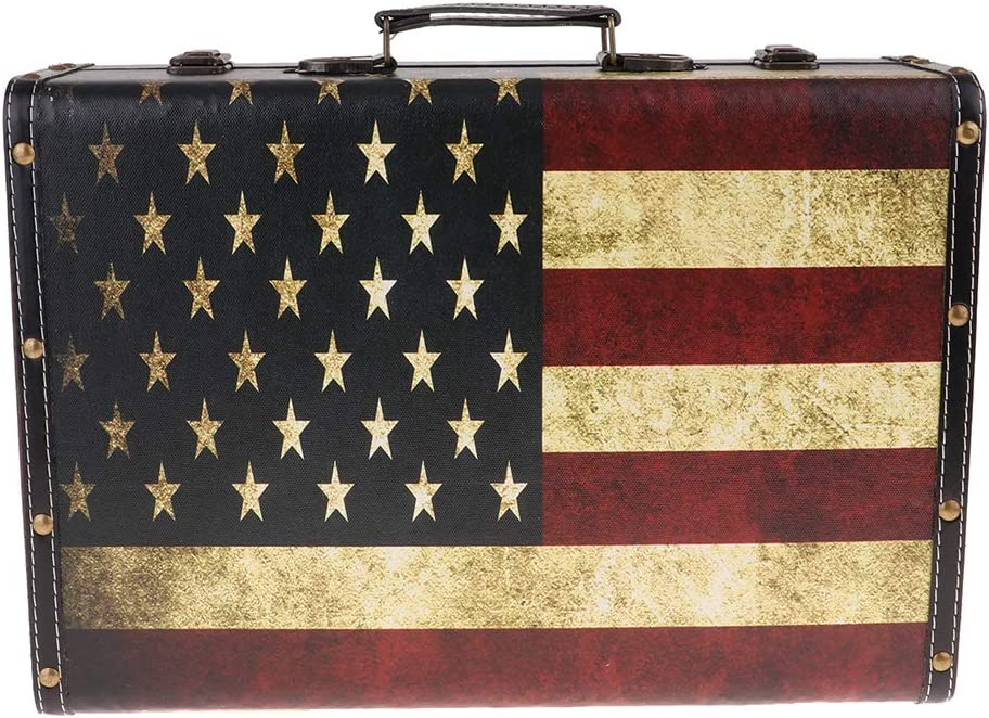 30x20x9cm Flag color kesoto British Style Vintage Suitcase Luggage Travel Bag Display Photography Props for Men Women