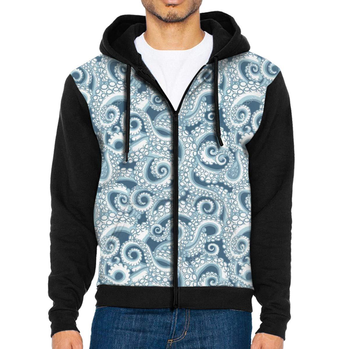 HEHE TAN Mens Pullover Hood Octopus Pattern Zip Hoodies Hooded Popular Jackets Coats