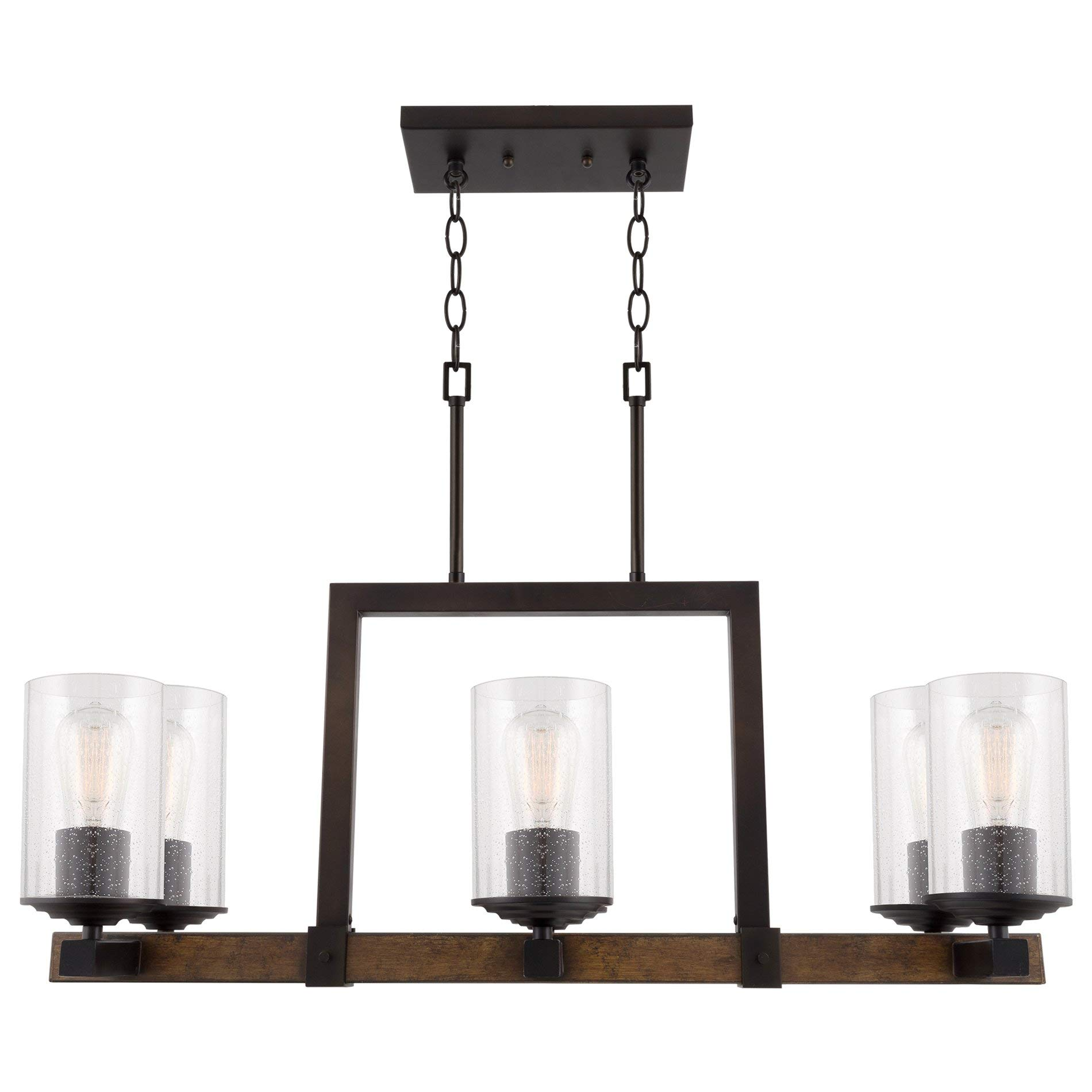 Kira Home Brentwood 30'' Large 6-Light Modern Rustic Island Light Chandelier + Mission Wood Style Metal Frame, Seeded Glass Shades, Oil-Rubbed Bronze Finish by Kira Home (Image #6)