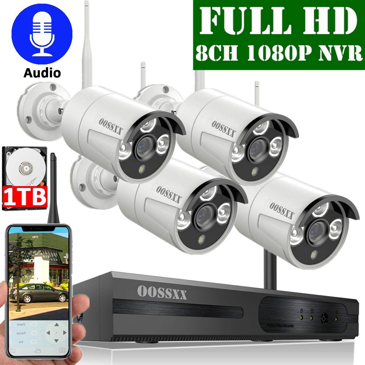 【2020 Update】 OOSSXX 8-Channel HD 1080P Wireless Security Camera System,4Pcs 1080P 2.0 Megapixel Wireless Indoor/Outdoor IR Bullet IP Cameras with Audio,1TB HDD Pre-Install