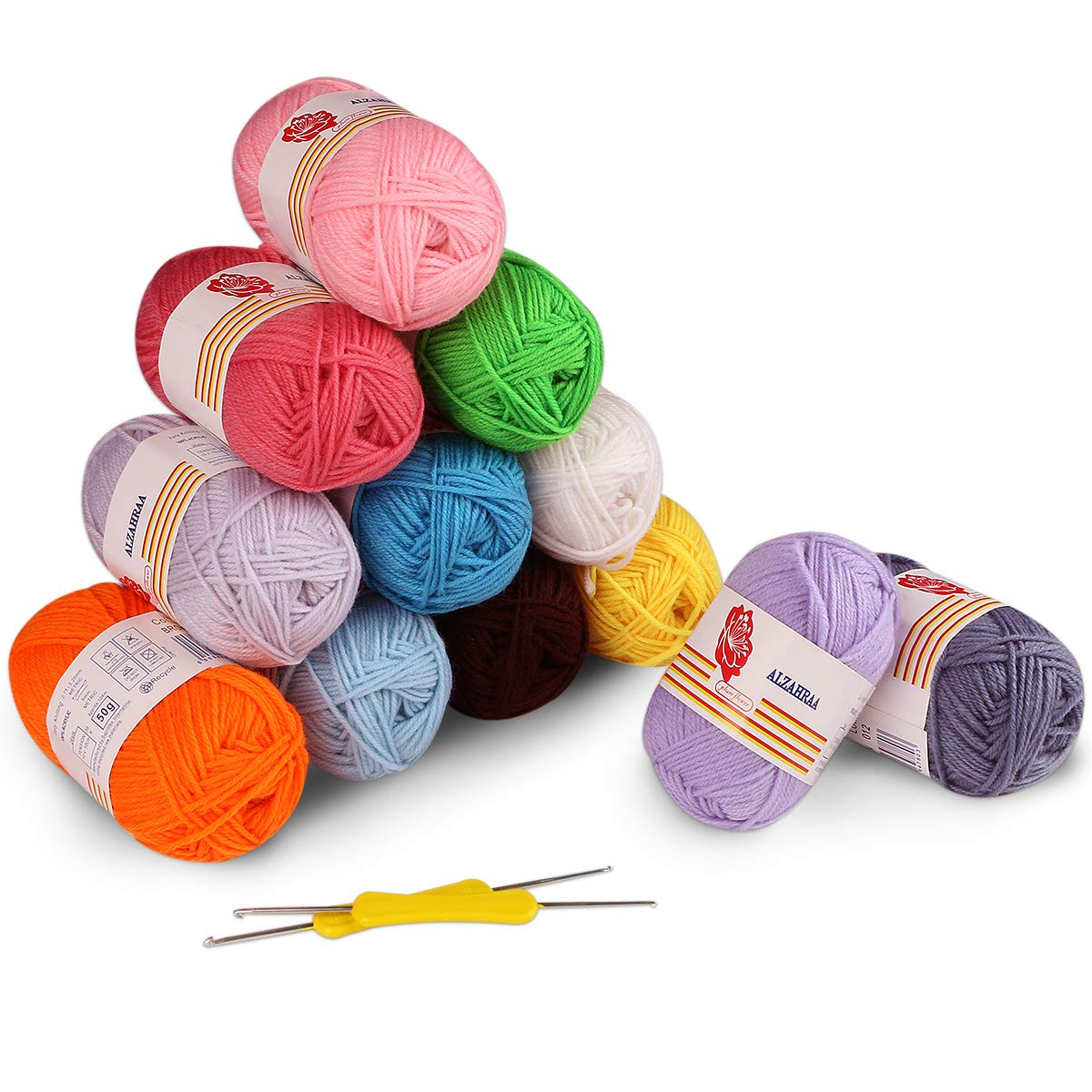12 Colores Bolas de Hilos Acrílicos, Incluye 2 Ganchos de Ganchillo ...