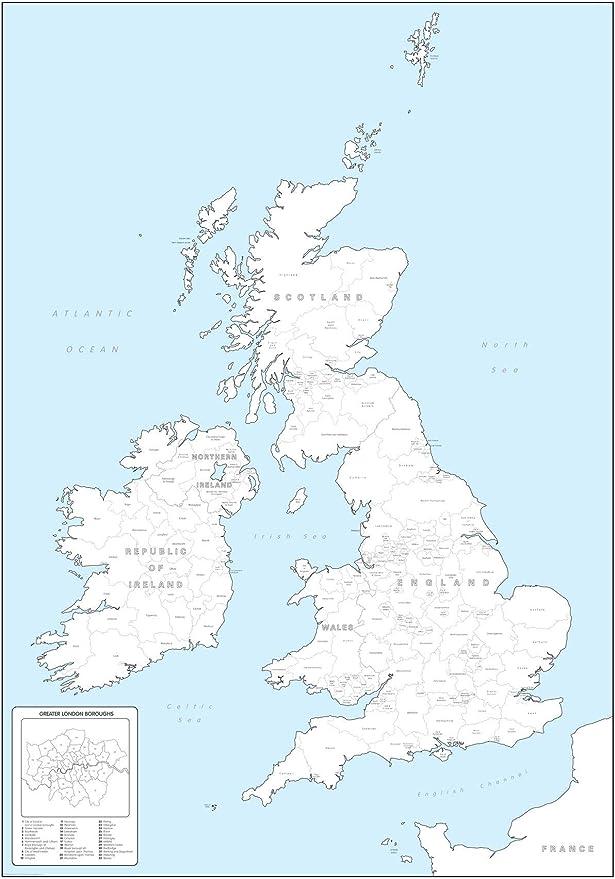 Regno Unito Cartina Da Colorare.Cartina Da Colorare Delle Contee E Delle Regioni Britanniche Grande 64 1 X 91 4 Cm Amazon It Amazon It
