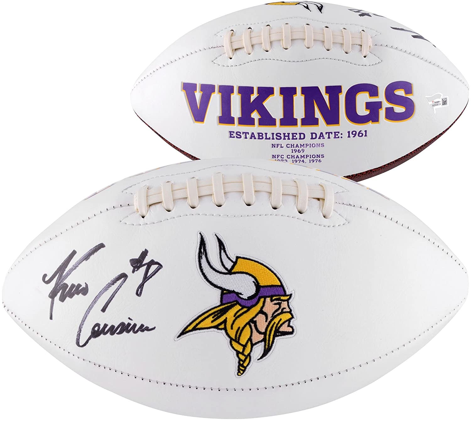 Kirk Cousins Minnesota Vikings Autographed White Panel Football - Fanatics Authentic Certified - Autographed Footballs