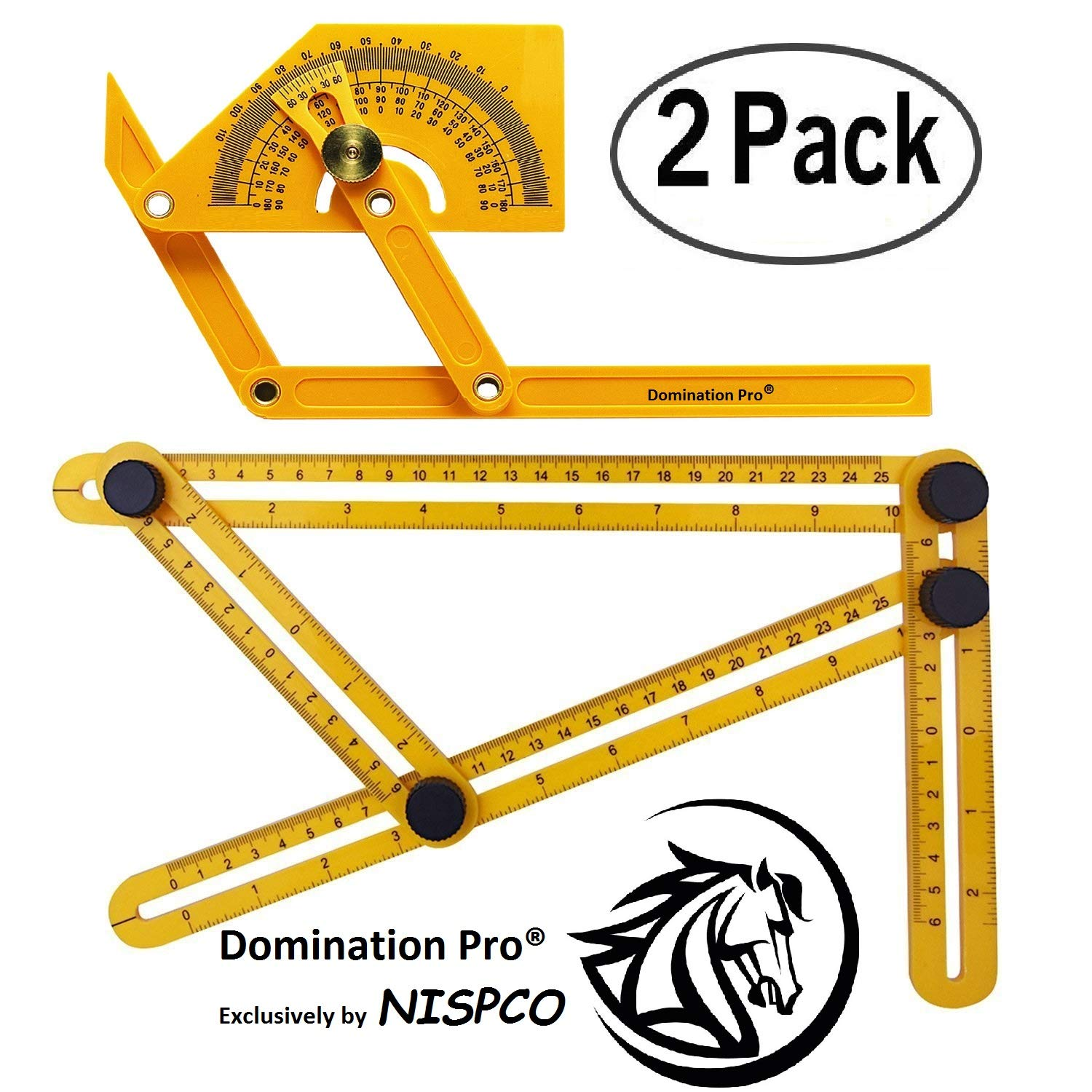 Domination Pro Set of 2 Construction Rulers Angularizer Ruler Multi Angle Measuring Tool Angulizer Ruler Angle Template Tool Protractor and Angle Finder .Exclusively by NISPCO