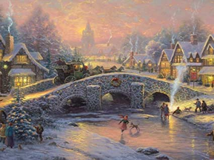thomas kinkade spirit of christmas art print on canvas 24x16 inches unframed