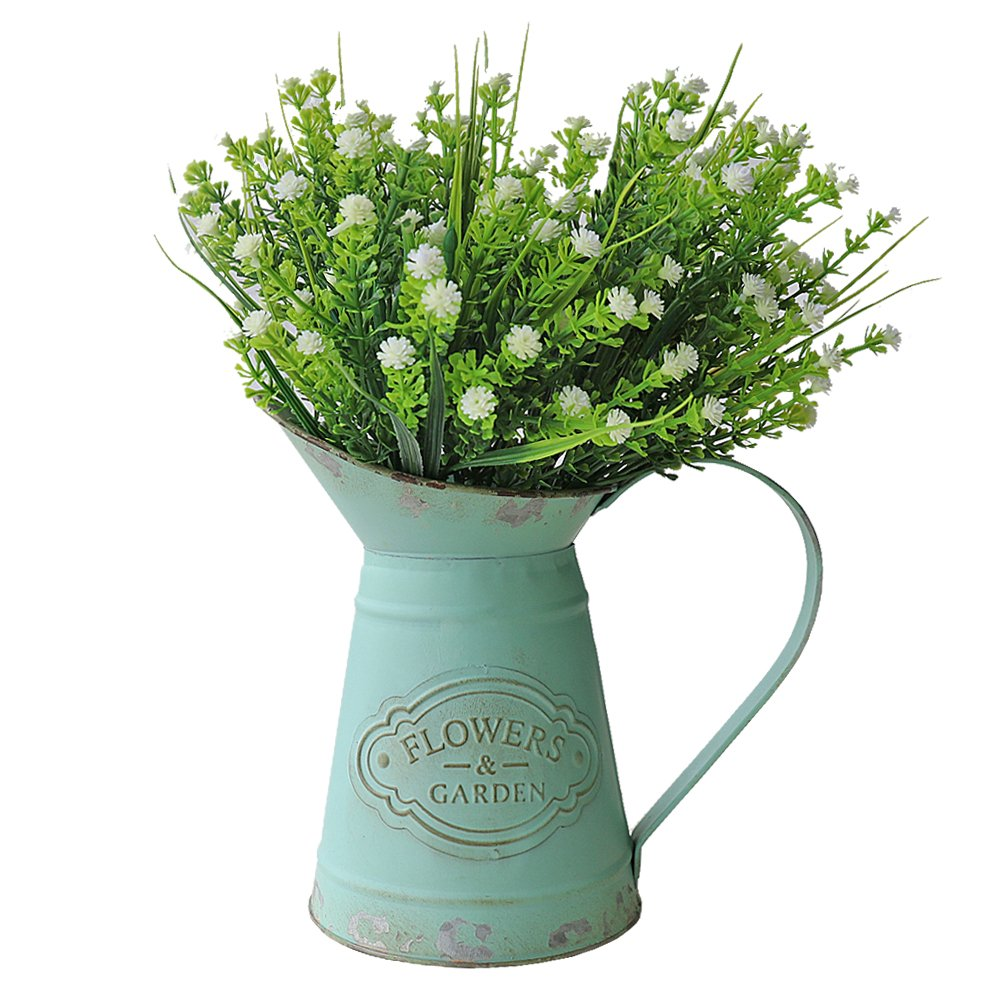 VANCORE Green French Style Country Rustic Jug Vase Pitcher Flower Holder for Home Decoration