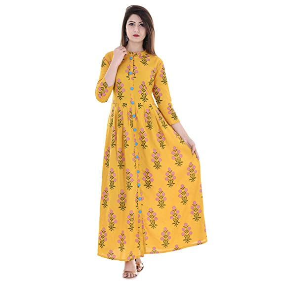 d66e583ef38 Stylum Women s Cotton Block Print Women Kurti(stylumyellowblocks Yellow 38)