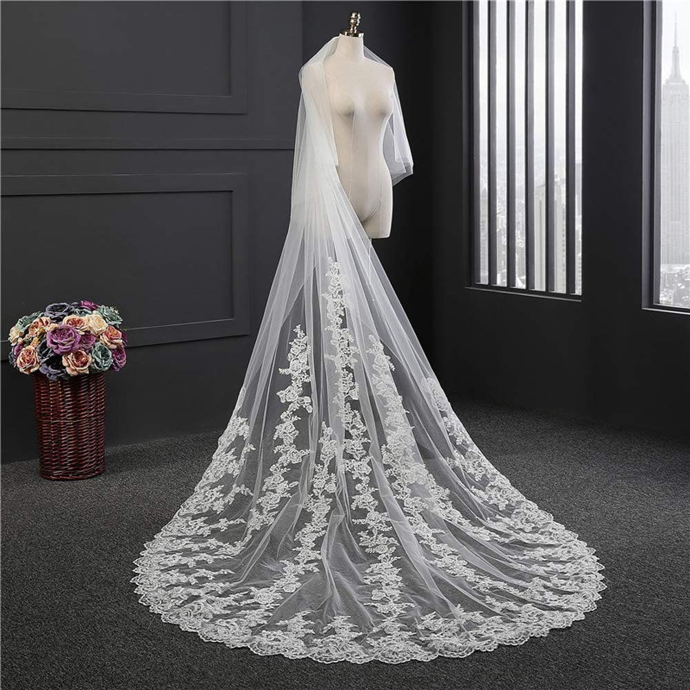 HHveil Lace Edge Bridal Veils Double Layer 3.8 Meter White Luxury Cathedral Lace Edge Bride Veil with Comb Wedding 31.8m