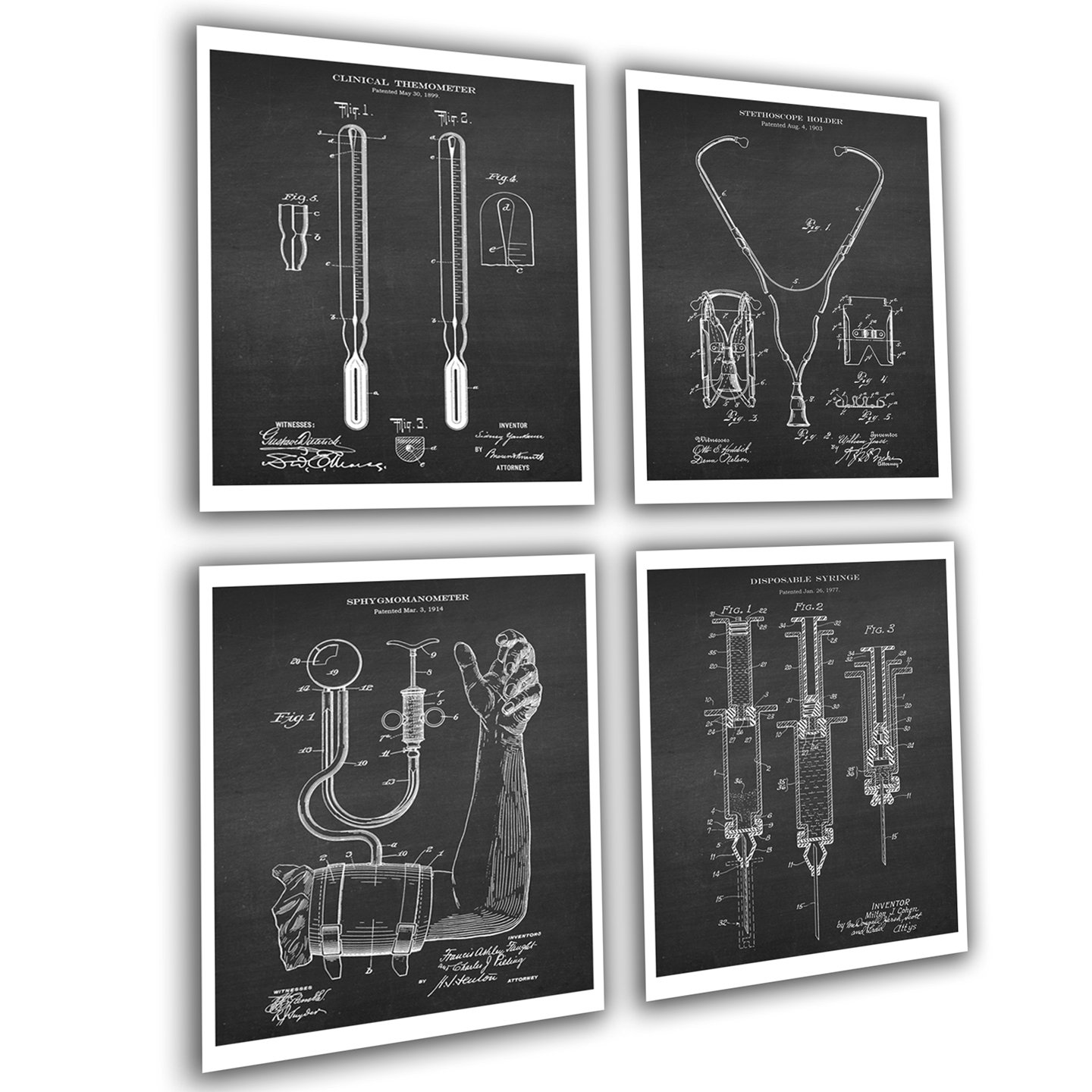 Gnosis Picture Archive Medical Art set of 4 Unframed Prints Patents_Medical_Chk4A Great As Medical Student Gifts, Doctors Office Decor, Gift for Nurses and Nursing Student.