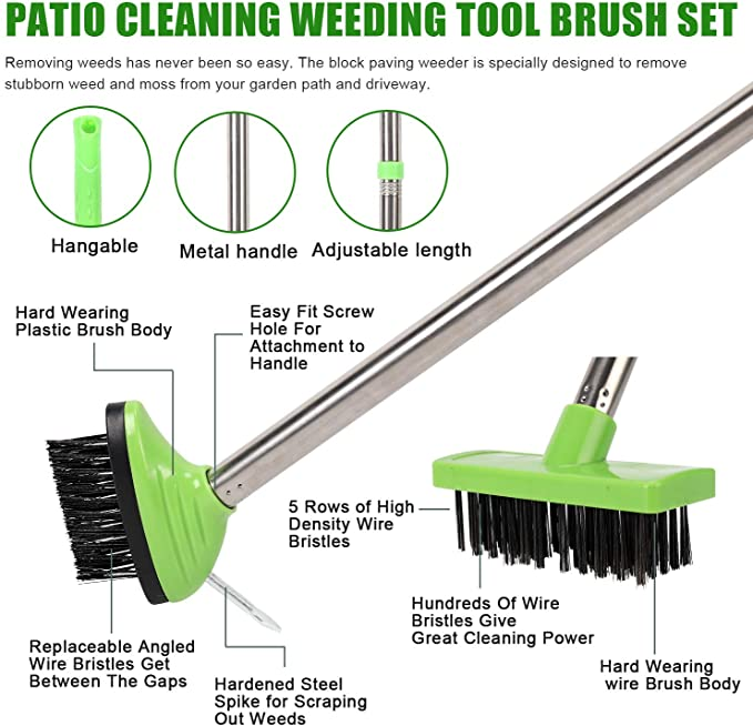1x Block Paving Wire Brush Heads Patio grout gap cleaning Moss Weeds roots Brush