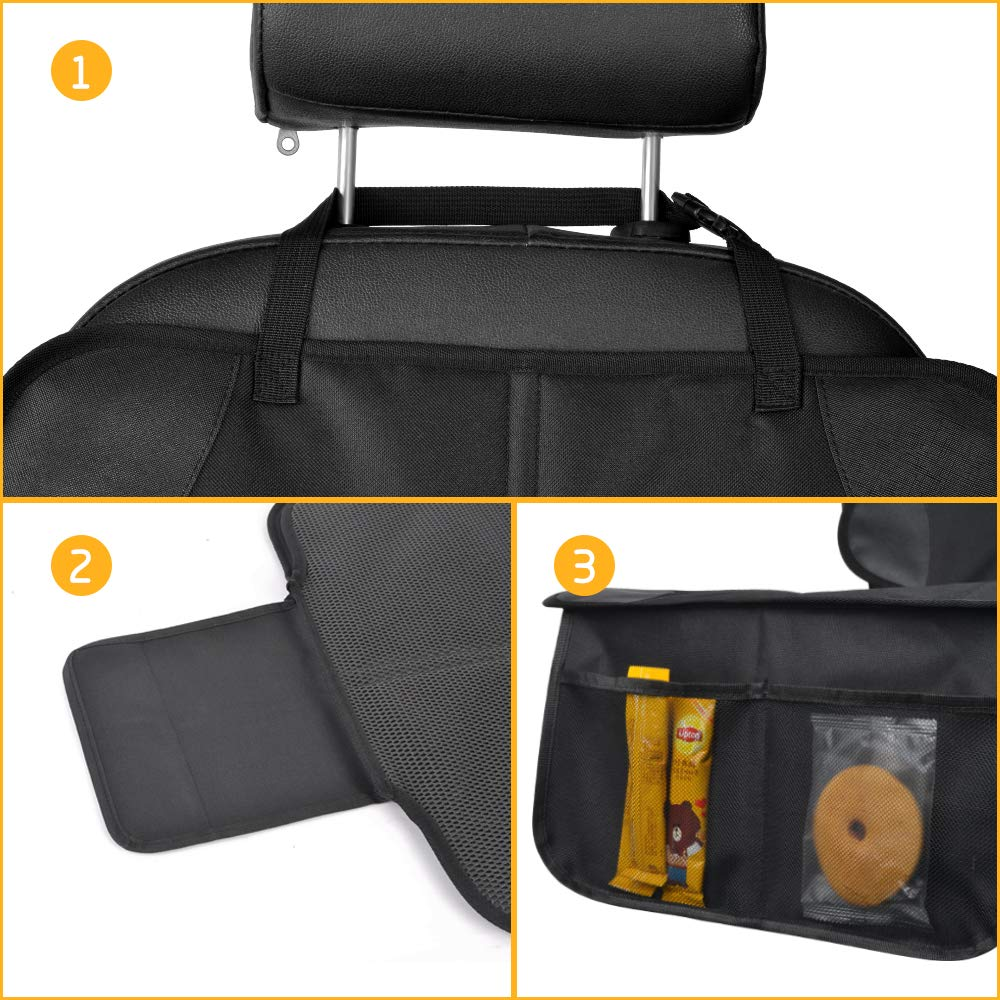 Waterproof 600D Padding Carseat Cover Protector for Leather Seats 2Pack Car Seat Protector for Child Seat