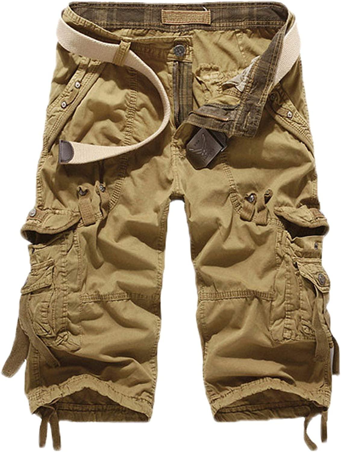 WSLCN Mens Retro Baggy Cargo Shorts Cotton Outdoor Casual Combat Shorts Cropped Pants Pockets