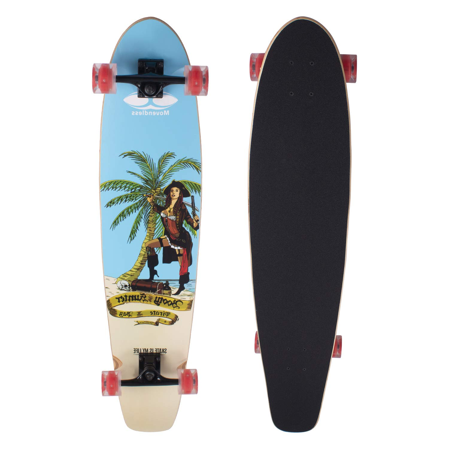 """Movendless YD-0016 Longboard 7 Layer Canadian Maple Wood Complete Bamboo Skateboard, 41.75"""" x 10"""""""