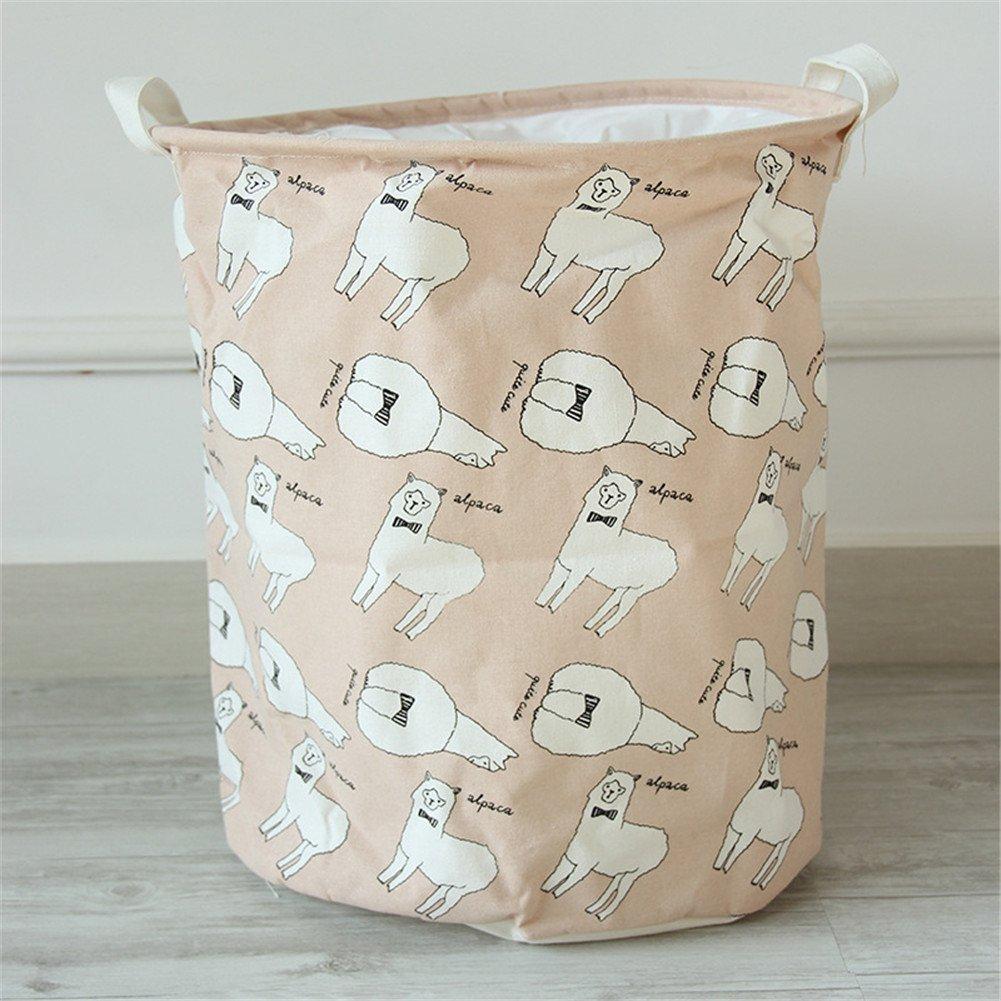 Yiliag Animals Cartoon Laundry Hamper Linen Cotton Laundry Basket Toy Clothes Laundry Bin-Pink/Sheep