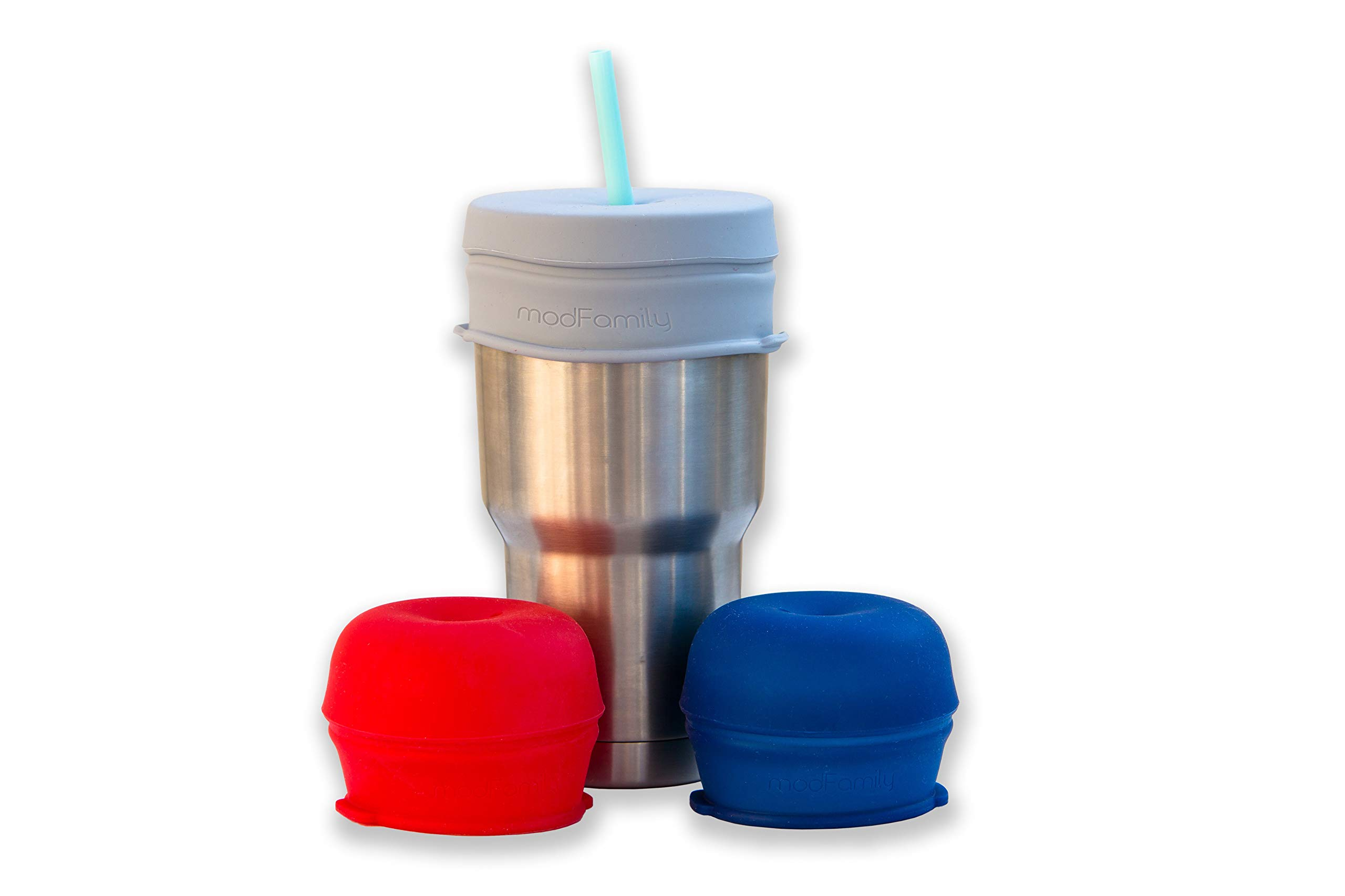 O-Sip! Silicone Straw Lids - XL size (Pack of 3), stretches to cover Tumblers, Large Cups and Mugs, Yeti Rambler, Mason Jars; Spill proof, Reusable, Durable, Replacement Lid Accessory (Red,Navy,Gray)