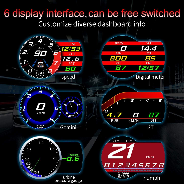 Heads Up Display for Cars iKiKin Digital Car Speedometer OBDII HUD Dash Multi Gauge Display LCD Screen with RPM Overspeed Alarm