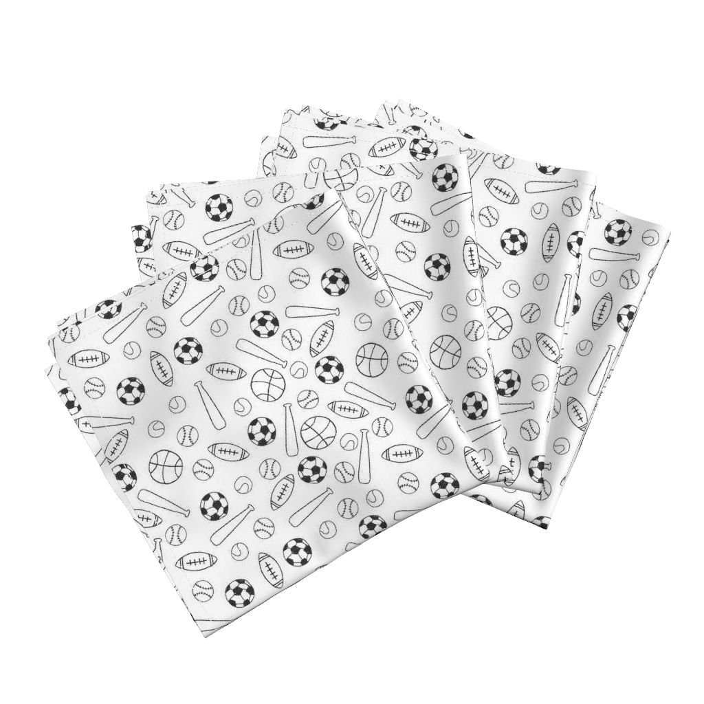 Roostery Game Playground School Black and White Tennis Football Soccer Organic Sateen Dinner Napkins Sports Fabric Black and White by Andrea Lauren Set of 4 Dinner Napkins