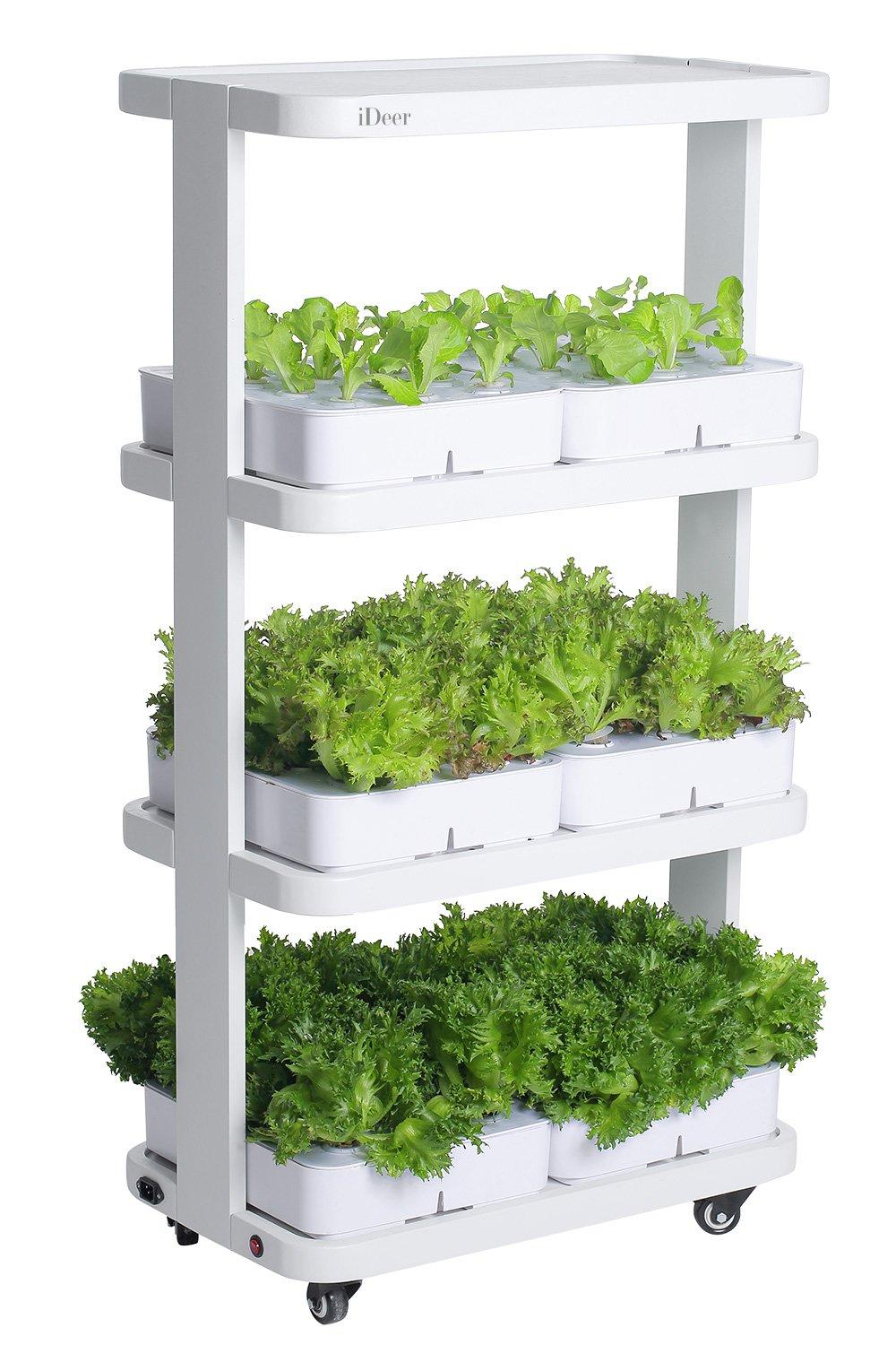 iDeer Life Mine Kitchen, Smart Indoor Gardening System with LED Plant Grow Light, Indoor Herb Garden, Soil-Free Plantation, Hydroponics Watering Growing System, Multi-Layer Planting with Moving Wheel, Indoor Gardening Kit with Seedling Foam, Not Contain Seeds -72 Plants (IDE880296 White) B07C2TV6F4