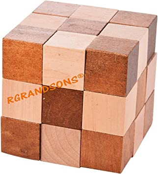 RGRANDSONS Handmade Wooden Puzzle Adult Snake Cube Handmade Gifts India Unique Gifts for Kids and Adult