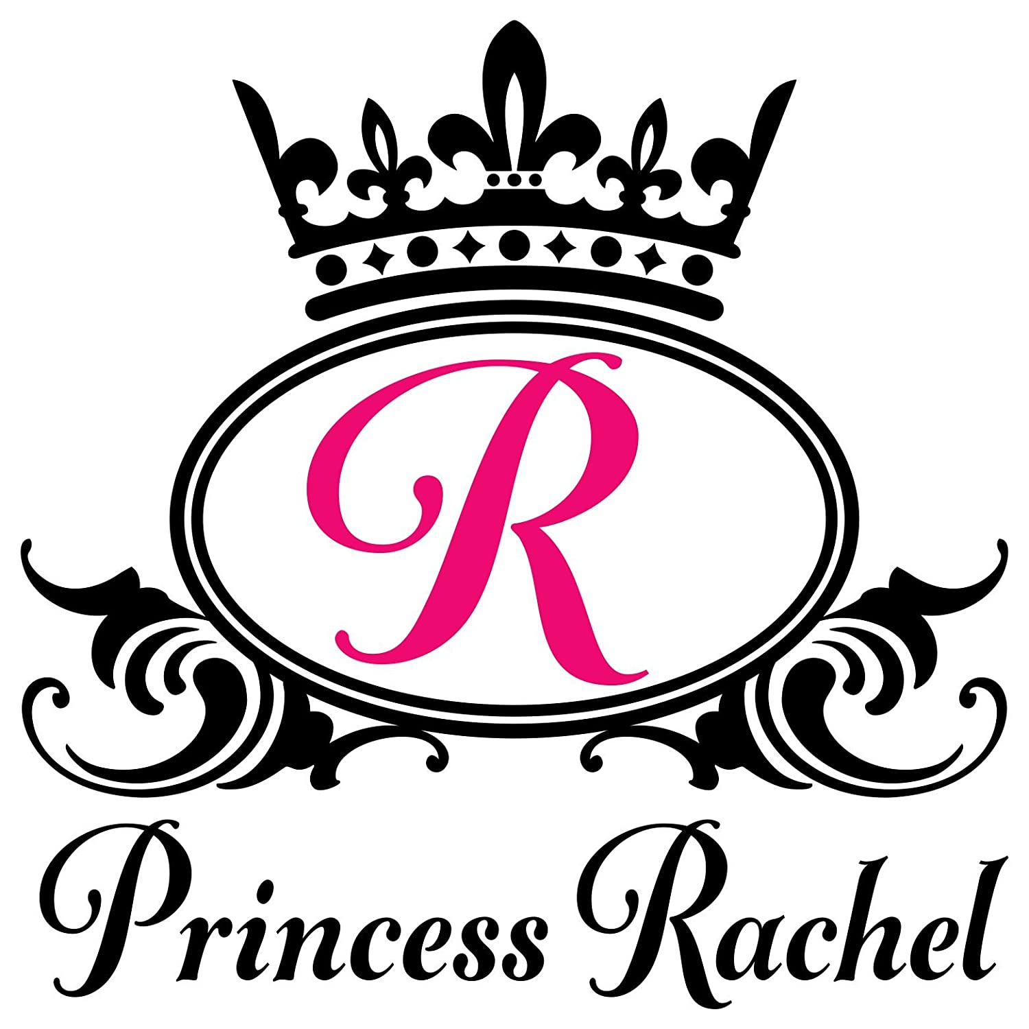 Amazon com princess custom name monogram initial crown vinyl wall