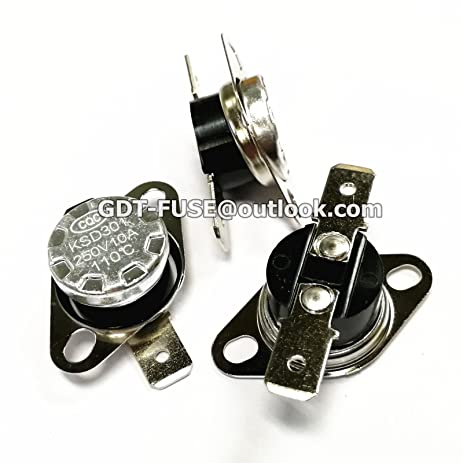 5PCS KSD301 10A 250V 110℃ Thermostat Temperature Control Switch 110C Normally closed 110 degrees or