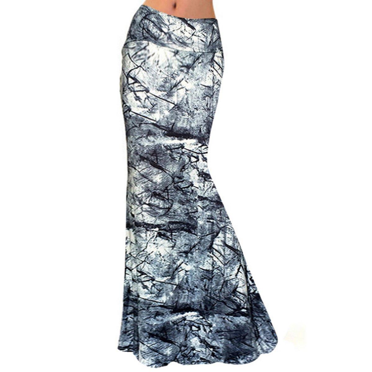 Aisa Womens Multicolored Printed High Waist Maxi Skirt New Fold Over Beach Long Skirt Dress Size Large