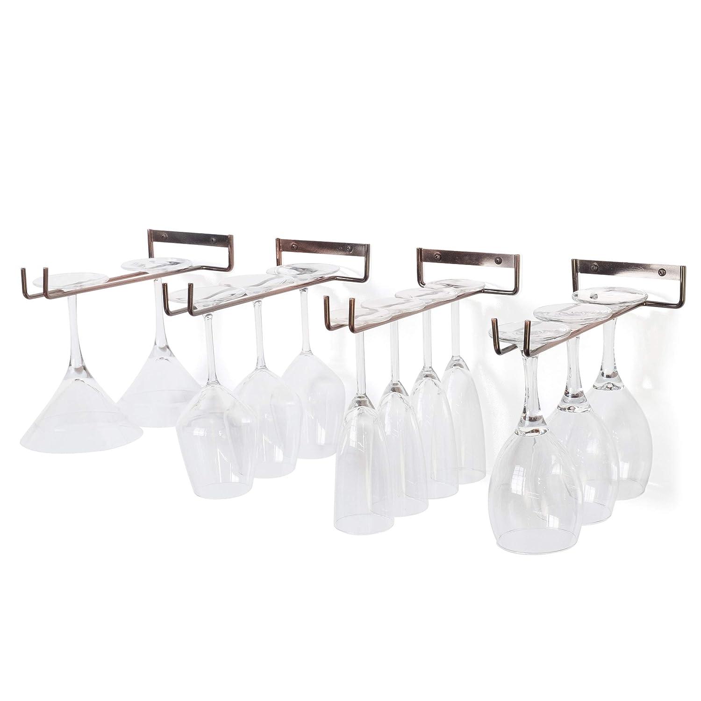 Wallniture Stemware Rack - Wall Mount Wine Glass Holder Hanger Storage Oil Rubbed Set of 4