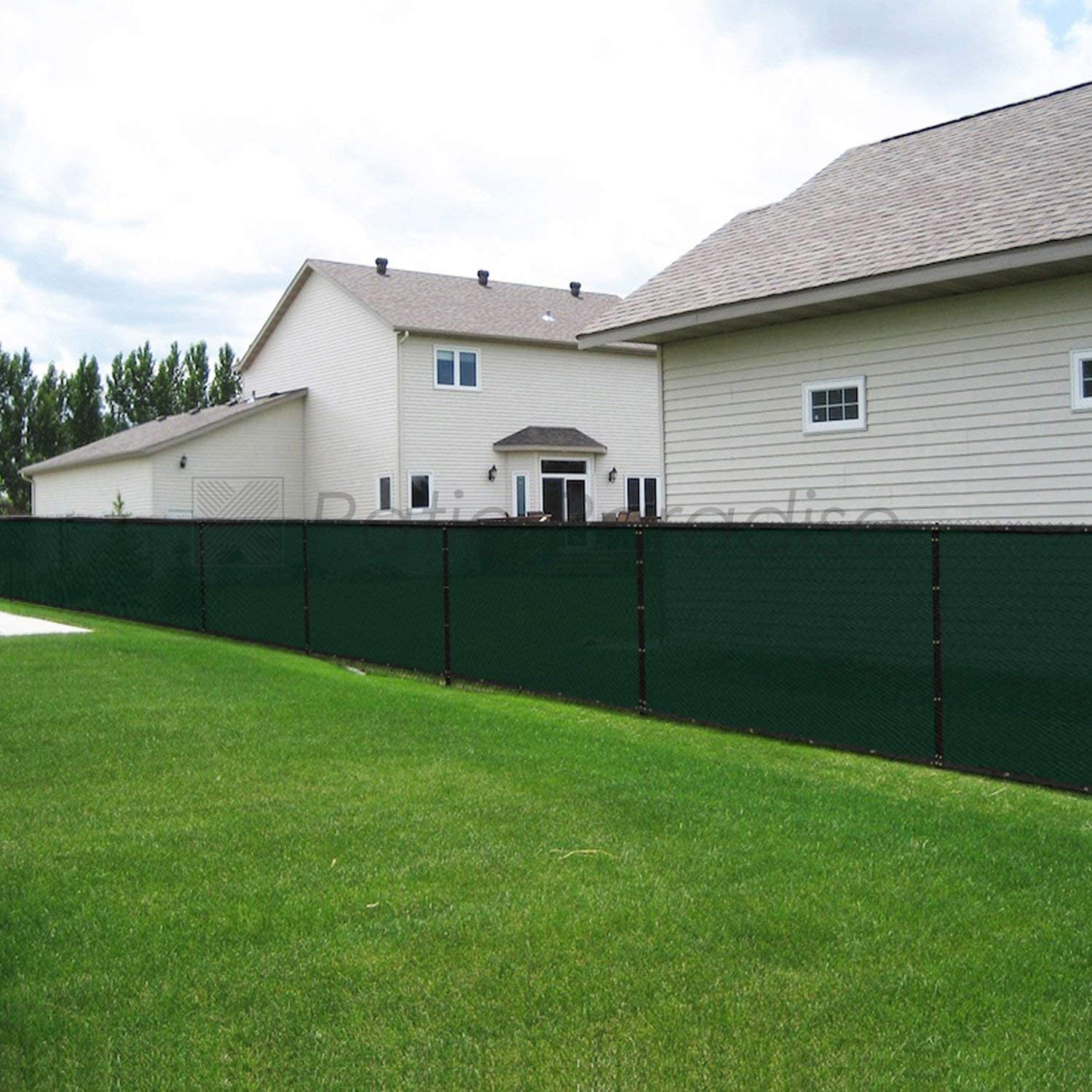 Patio Paradise 8' x 50' Dark Green Fence Privacy Screen, Commercial Outdoor Backyard Shade Windscreen Mesh Fabric with Brass Gromment 88% Blockage- 3 Years Warranty (Customized