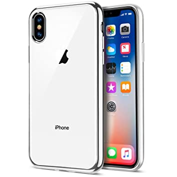 on sale 9c477 e4f85 iPhone X Silver Case, Clear Back Slim Fit Silicone Case and Screen  Protector for iPhone X / iPhone 10 Cover [Silver][5.8