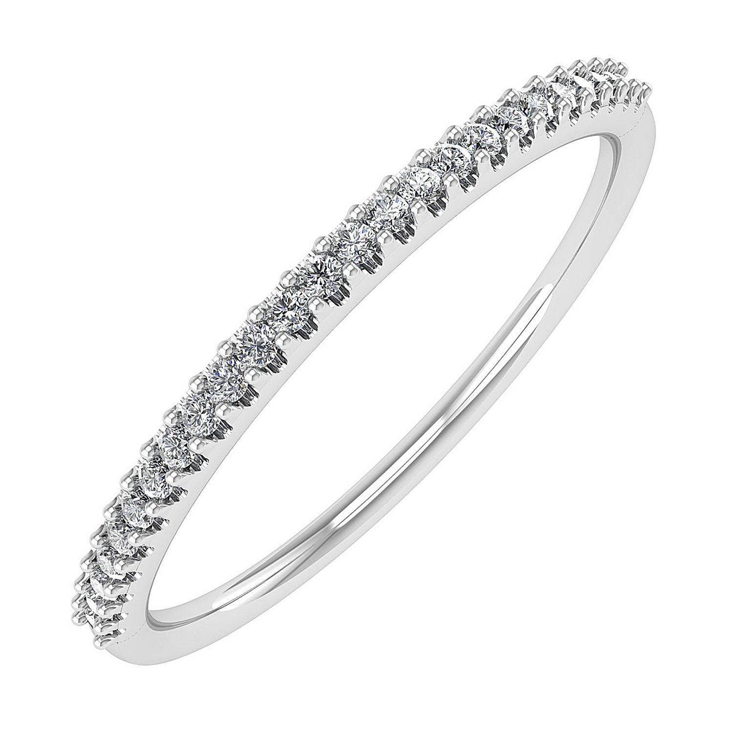 0.08 carat 10K White Gold Round Diamond Ladies Anniversary / Wedding stackable Band Ring - IGI Certified