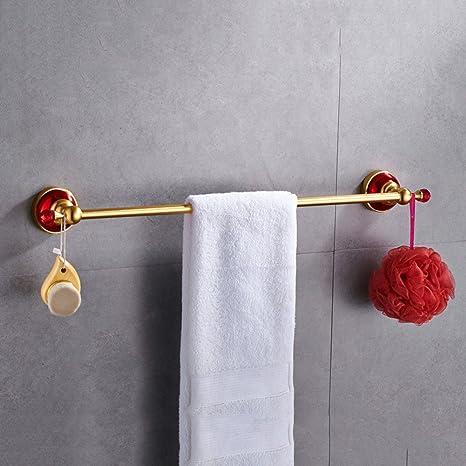 ZHANGYToallero Cristal dorado Baño de varilla individual Organizador de ducha Bañera Soporte para colgar toallas 24