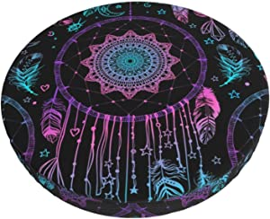 Round Bar Stool Cushions Covers Boho Chic Dreamcatcher Feathers Ethnic Non Slip Round Seat Cover Protector Stretch Barstools Velvet Slipcover for Backless Adjustable Height Chair with Wheels