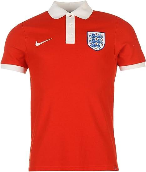 Nike Inglaterra Polo para Hombre Rojo/Blanco fútbol fútbol Cuello ...