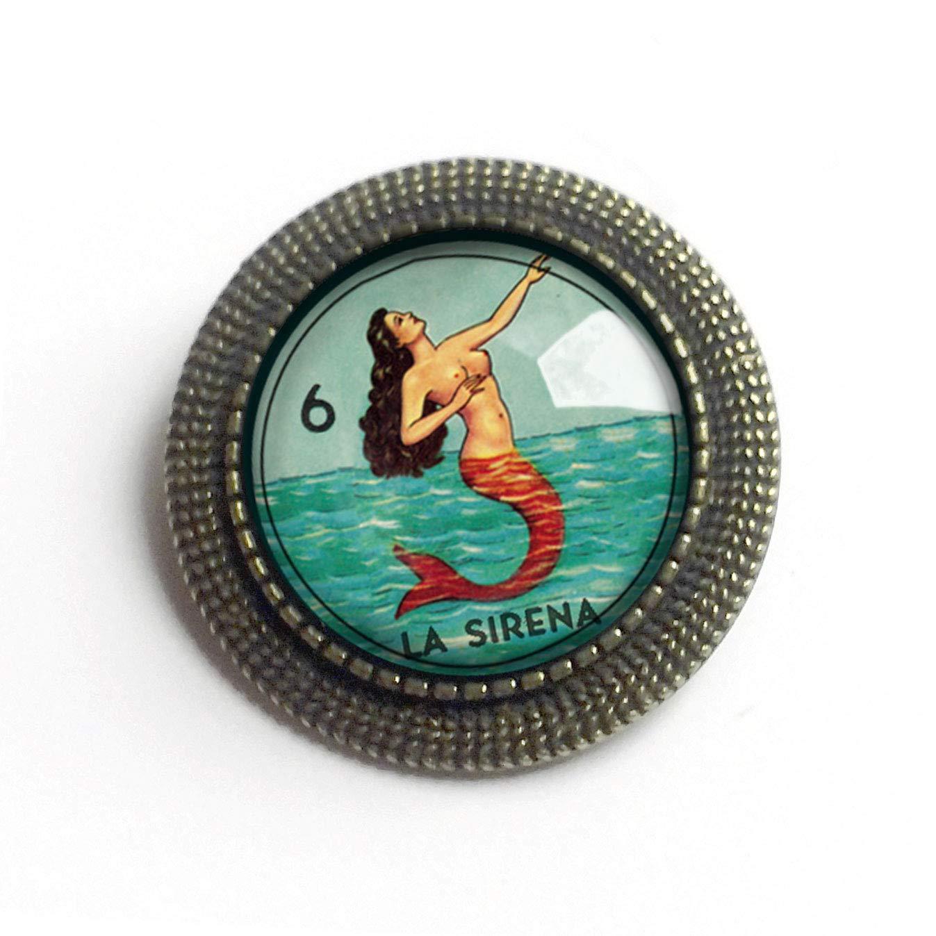 La Sirena Loteria Mermaid Glass and Brass Brooch