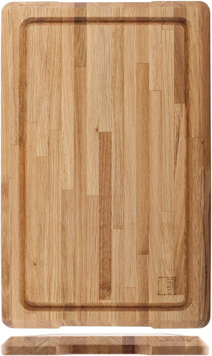 bois H /& H 824357 Planche /à d/écouper professionnelle en ch/êne avec bord ramass/é 55 x 35 x 3,2 h cm
