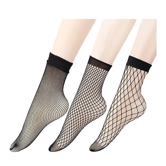3 piezas medias de rejilla mujer,Negro calcetines de Red de pesca para mujeres (